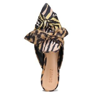 NWT Schutz leopard print knotted mule slippers